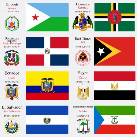 coordinates: world flags of Djibouti, Dominica, Dominican Republic, East Timor, Ecuador, Egypt, El Salvador and Equatorial Guinea, with capitals, geographic coordinates and coat of arms, art illustration