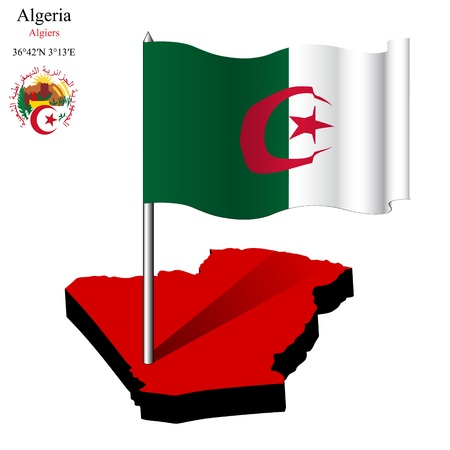 coordinates: algeria wavy flag over map against white background, abstract vector art illustration, image contains transparency Illustration