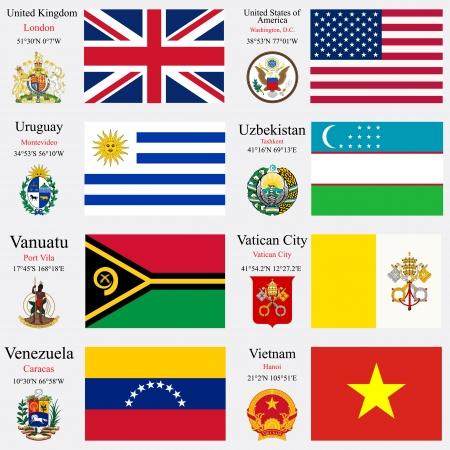 zeměpisný: světové vlajky Spojeného království, Spojené státy americké, Uruguay, Uzbekistán, Vanuatu, Vatikán, Venezuela a Vietnam, s hlavicemi, zeměpisných souřadnic a erb, vektorové ilustrace umění