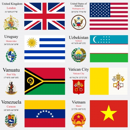 coordinates: world flags of United Kingdom, United States of America, Uruguay, Uzbekistan, Vanuatu, Vatican City, Venezuela and Vietnam, with capitals, geographic coordinates and coat of arms, vector art illustration Illustration