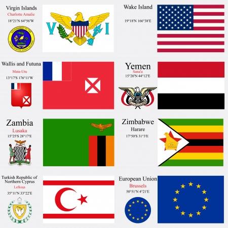 유럽 연합 (EU), 북부 키프로스, 버진 아일랜드의 터키어 공화국의 세계 플래그 수도, 지리적 좌표와 팔의 코트, 벡터 아트 일러스트와 함께, 섬, 월