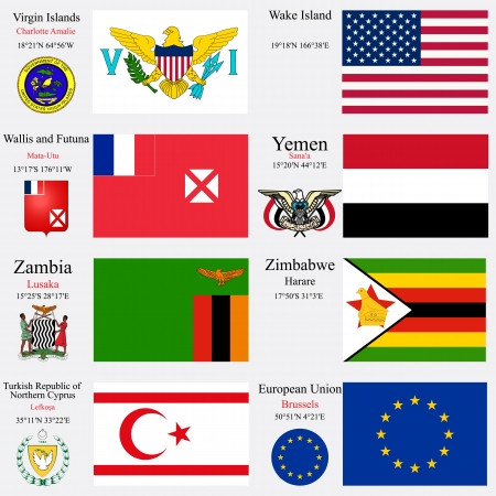 geographic: world flags of European Union, Turkish Republic of Northern Cyprus, Virgin Islands, Wake Island, Wallis and Futuna, Yemen, Zambia and Zimbabwe, with capitals, geographic coordinates and coat of arms, vector art illustration Illustration