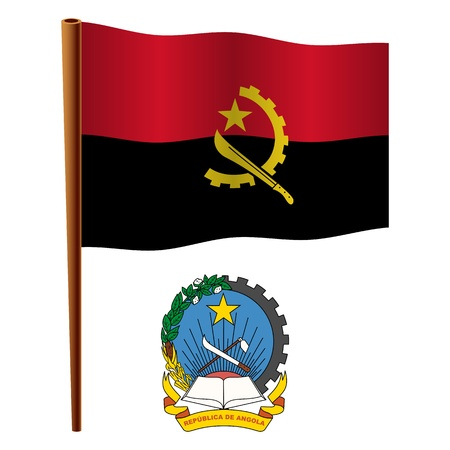 angola wavy flag and coat of arms against white background, vector art illustration, image contains transparency