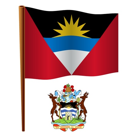 barbuda: antigua and barbuda wavy flag and coat of arms against white background, vector art illustration, image contains transparency