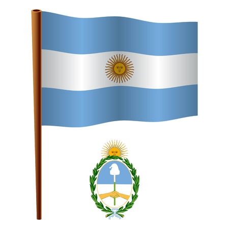 argentina wavy flag and coat of arms against white background, vector art illustration, image contains transparency