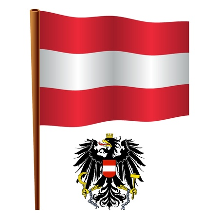austria wavy flag and coat of arms against white background, vector art illustration, image contains transparency