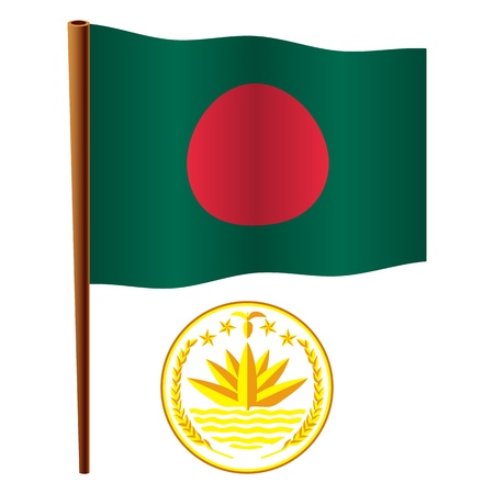bangladesh wavy flag and coat of arms against white background, vector art illustration, image contains transparency Illusztráció