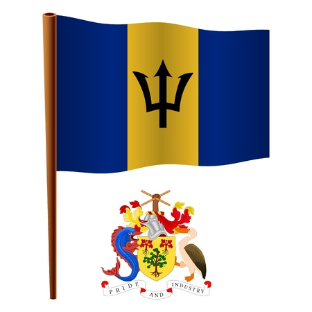 barbados wavy flag and coat of arms against white background, vector art illustration, image contains transparency Vettoriali