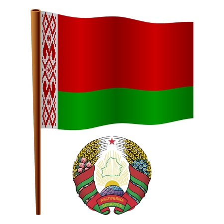 belarus wavy flag and coat of arms against white background, vector art illustration, image contains transparency Stock Vector - 19466532