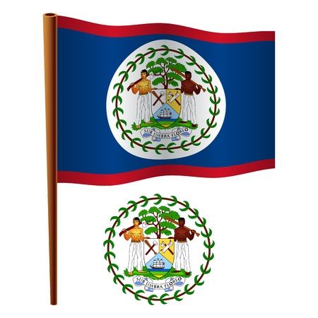 belize wavy flag and coat of arms against white background, vector art illustration, image contains transparency
