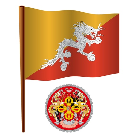 bhutan wavy flag and coat of arms against white background, vector art illustration, image contains transparency