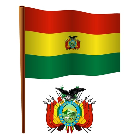 bolivia wavy flag and coat of arms against white background, vector art illustration, image contains transparency