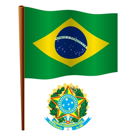 brasil wavy flag and coat of arms against white background, vector art illustration, image contains transparency 向量圖像