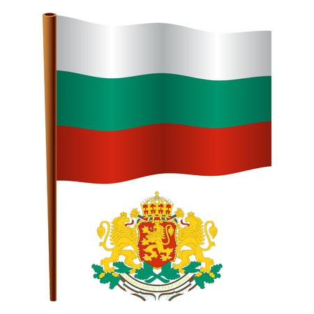 bulgaria wavy flag and coat of arms against white background, vector art illustration, image contains transparency