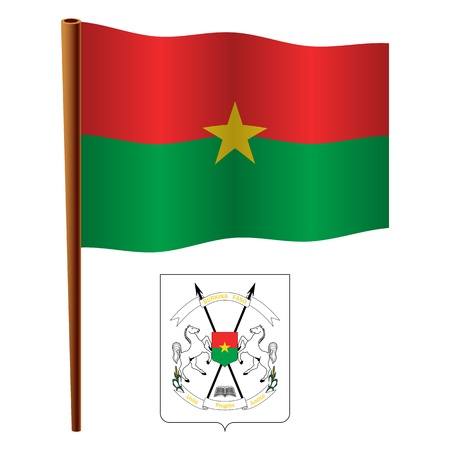 burkina faso: burkina faso wavy flag and coat of arms against white background, vector art illustration, image contains transparency
