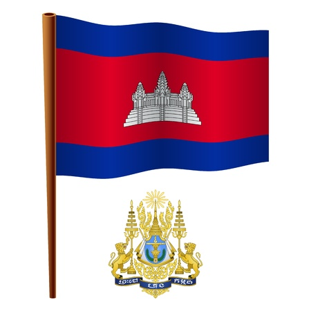 cambodia wavy flag and coat of arms against white background, vector art illustration, image contains transparency Illustration