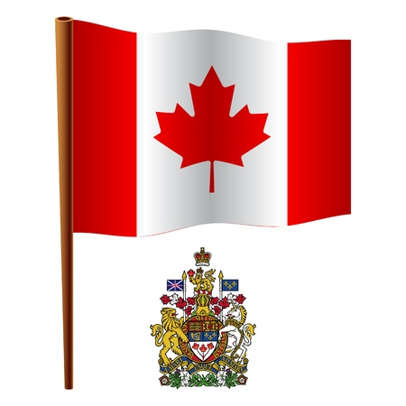 canada wavy flag and coat of arms against white background, vector art illustration, image contains transparency