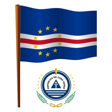 cape verde wavy flag and coat of arms against white background, vector art illustration, image contains transparency Ilustrace