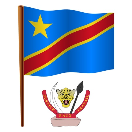 democratic republic of the congo wavy flag and coat of arms against white background, vector art illustration, image contains transparency