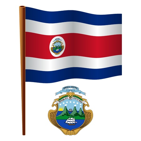 costa rica wavy flag and coat of arms against white background, vector art illustration, image contains transparency Ilustração