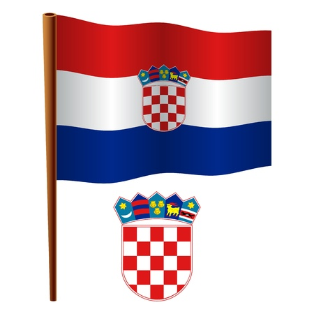 croatia wavy flag and coat of arms against white background, vector art illustration, image contains transparency Stock Vector - 19466417