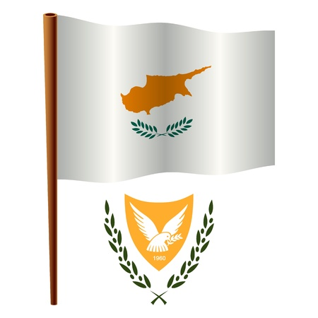 cyprus wavy flag and coat of arms against white background, vector art illustration, image contains transparency Ilustração