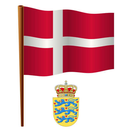 denmark wavy flag and coat of arms against white background, vector art illustration, image contains transparency