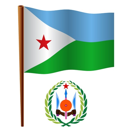 djibouti wavy flag and coat of arms against white background, vector art illustration, image contains transparency