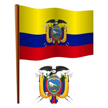ecuador wavy flag and coat of arms against white background, vector art illustration, image contains transparency Ilustração
