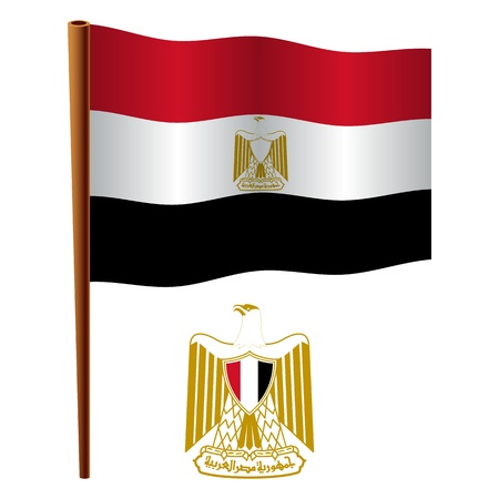flagpole: egypt wavy flag and coat of arms against white background, vector art illustration, image contains transparency