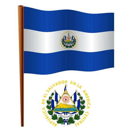 el salvador flag: el salvador wavy flag and coat of arms against white background, vector art illustration, image contains transparency