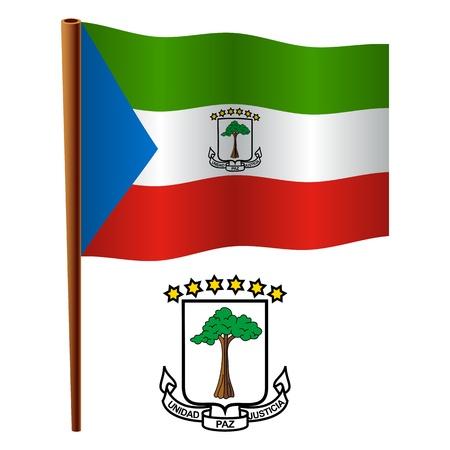 Guinea Ecuatorial ondulado bandera y el escudo contra el fondo blanco, ilustración de arte vectorial, la imagen contiene transparencias Ilustración de vector