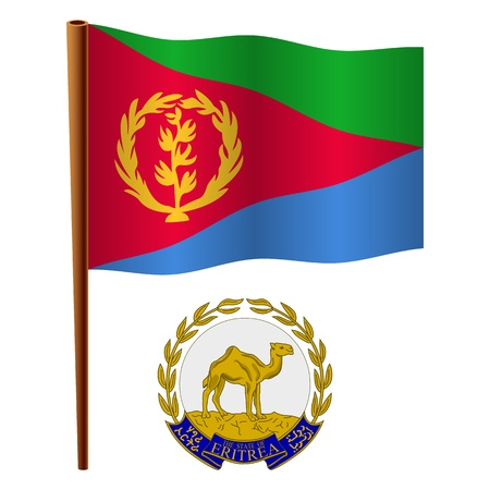 eritrea wavy flag and coat of arms against white background, vector art illustration, image contains transparency Illustration