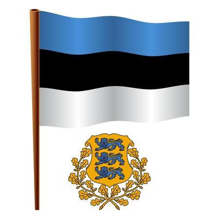 画像が透明部分を含むエストニア波状の旗、紋章付き外衣白い背景に、ベクトル アート イラスト