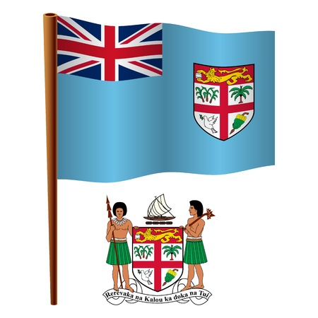 fiji wavy flag and coat of arms against white background, vector art illustration, image contains transparency