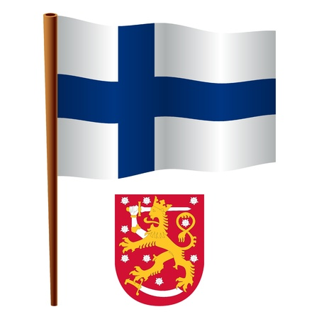 finland wavy flag and coat of arms against white background, vector art illustration, image contains transparency