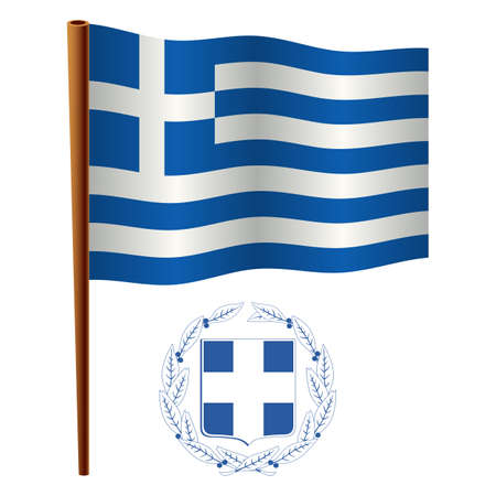 greece wavy flag and coat of arms against white background, vector art illustration, image contains transparency