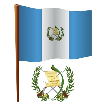white coat: guatemala wavy flag and coat of arms against white background, vector art illustration, image contains transparency