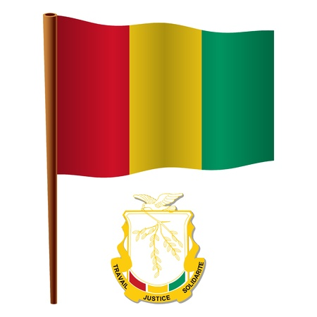 guinea wavy flag and coat of arms against white background, vector art illustration, image contains transparency