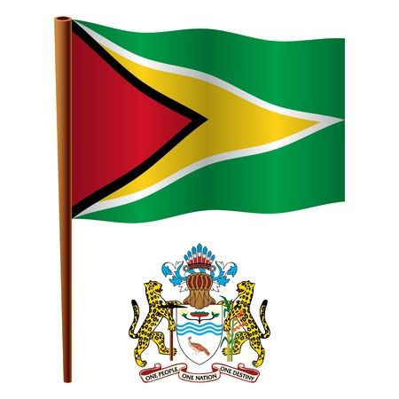 guyana wavy flag and coat of arms against white background, vector art illustration, image contains transparency