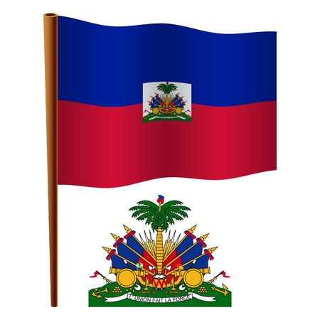 haiti wavy flag and coat of arms against white background, vector art illustration, image contains transparency Stock Vector - 19466518