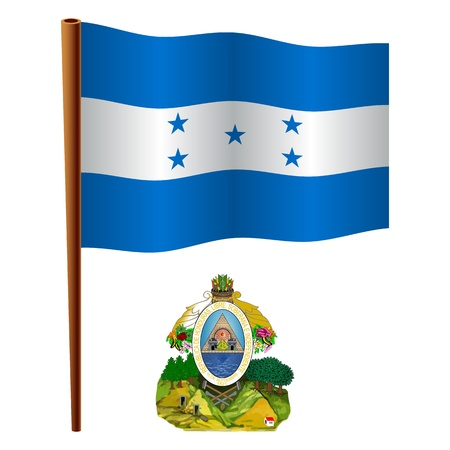 honduras wavy flag and coat of arms against white background, vector art illustration, image contains transparency Vector