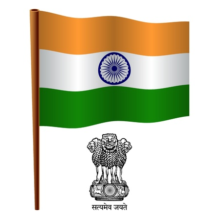 india wavy flag and coat of arms against white background, vector art illustration, image contains transparency