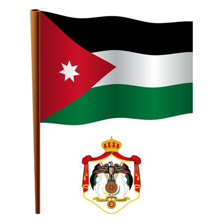 jordan golvende vlag en wapen tegen een witte achtergrond, vector kunst illustratie, afbeelding transparantie bevat