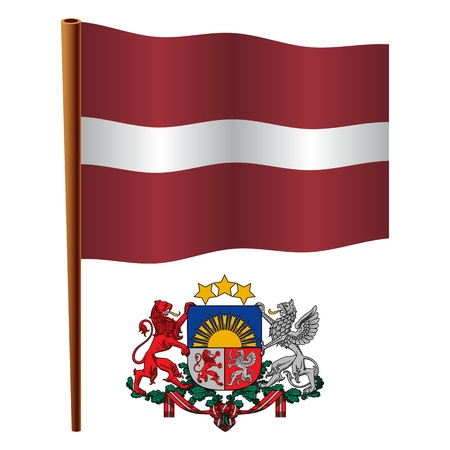 latvia wavy flag and coat of arm against white background, vector art illustration, image contains transparency Vector
