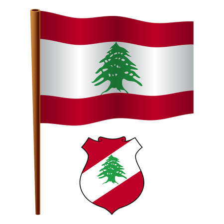 flagpole: lebanon wavy flag and coat of arm against white background, vector art illustration, image contains transparency Illustration