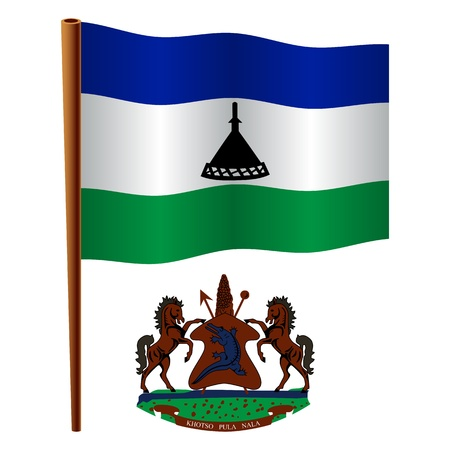 lesotho wavy flag and coat of arm against white background, vector art illustration, image contains transparency