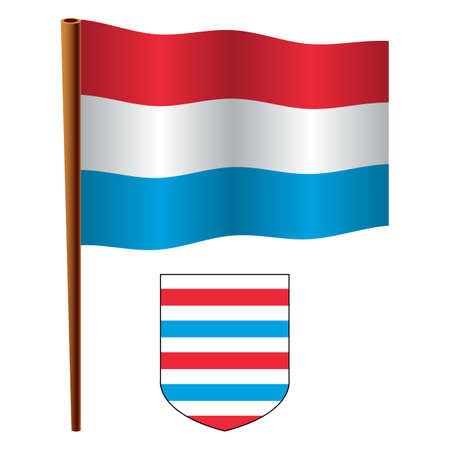 luxembourg wavy flag and coat of arm against white background, vector art illustration, image contains transparency Vector