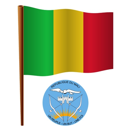 mali wavy flag and coat of arm against white background, vector art illustration, image contains transparency