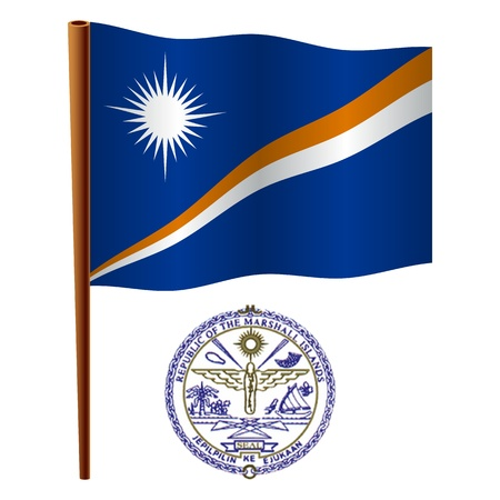 marshall islands wavy flag and coat of arm against white background, vector art illustration, image contains transparency Illustration